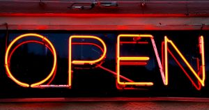 Traditional Open For Business Neon Sign
